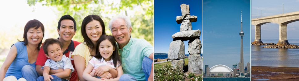 Image of a smiling asian family, four adults and two children, the image of a stone structure (also known as the Inukshuk atop of Whistler mountain in BC), CN Tower and rogers center, side image of the confederation bridge