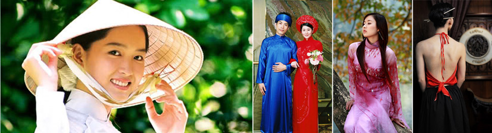 An image of a smiling woman wearing the traditional conical hat of vietnam, typical wedding dresses, a young woman wearing a pink traditional ao dai dress gazing off to the left, the back of a woman wearing a red halter top áo yếm