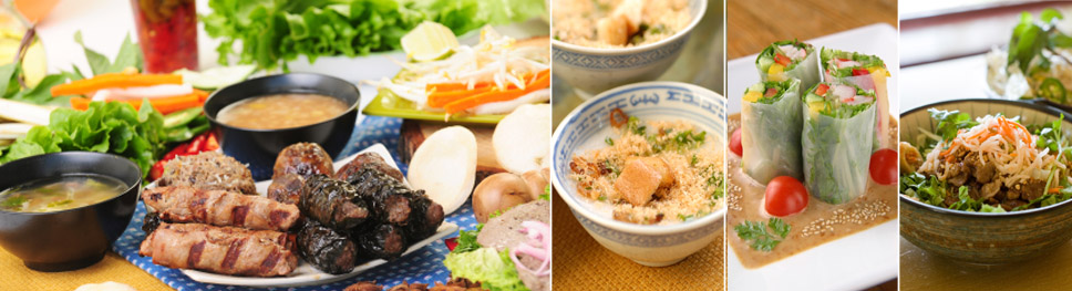 an image vietnamese sausages, dressings, salads and dips, a bowl with finely grained meat sprinkled with herbs, summer rolls cut in half and set in a dish with a brown sauce with seaseme seeds, a bowl with with noodles topped with beef and garnished with shredded carrots