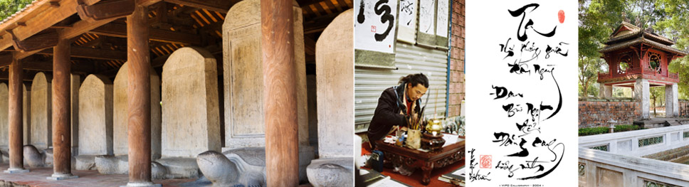 An image of old looking columns, a man sitting outside writing vietnamese caligraphy, a picture of vietnamese writing (calligraphy style), a side view of a temple-like structure