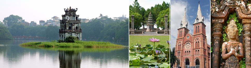 A scenic picture of a temple on an island surrounded by water in Hanoi, a pagoda with the focus on a single lotus flower, Catholic Cathedral in Saigon, a statue and gate in front of a Cham temple